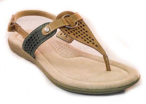 Earth spirit natural / multi leather summer toe post sandal